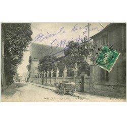 carte postale ancienne 86 POITIERS. Le Lycée et Attelage dans la Rue 1916