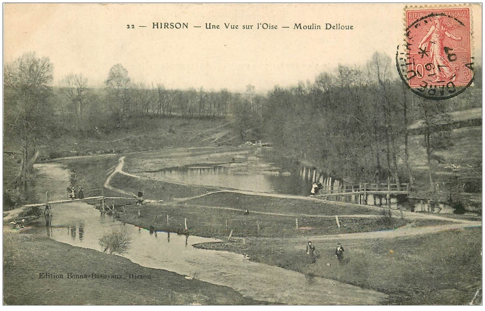 carte postale ancienne 02 HIRSON. Moulin Delloue 1907