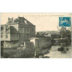 carte postale ancienne 86 POITIERS. Les Moulins de Chasseignes et Pêcheur sur le Clain 1921