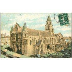 carte postale ancienne 86 POITIERS. Notre Dame la Grande 1908 avec le Marché devant