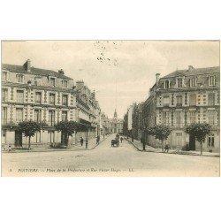 carte postale ancienne 86 POITIERS. Place Préfecture et Rue Victor Hugo 1917 Tampon militaire