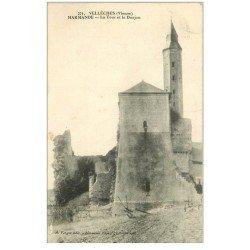 carte postale ancienne 86 VELLECHES. Marmande. Tour et Donjon 1912