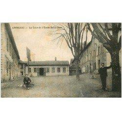 carte postale ancienne 87 AMBAZAC. La Cour Ecole Saint Jean