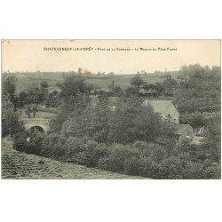 carte postale ancienne 87 CHATEAUNEUF LA FORET. Moulin du Père Faure et Pont de la Combade 1909