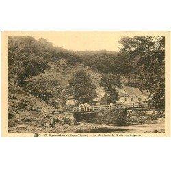 carte postale ancienne 87 EYMOUTIERS. Moulin de la Rivière au Seigneur personnages et Chevaux sur le Pont