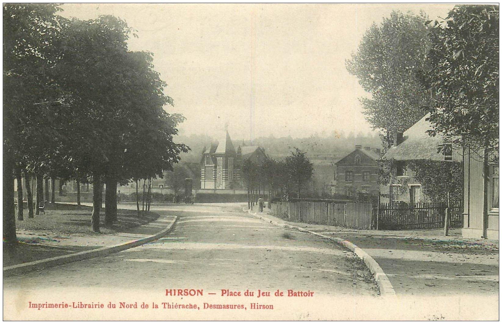 carte postale ancienne 02 HIRSON. Place du Jeu de Battoir 1907