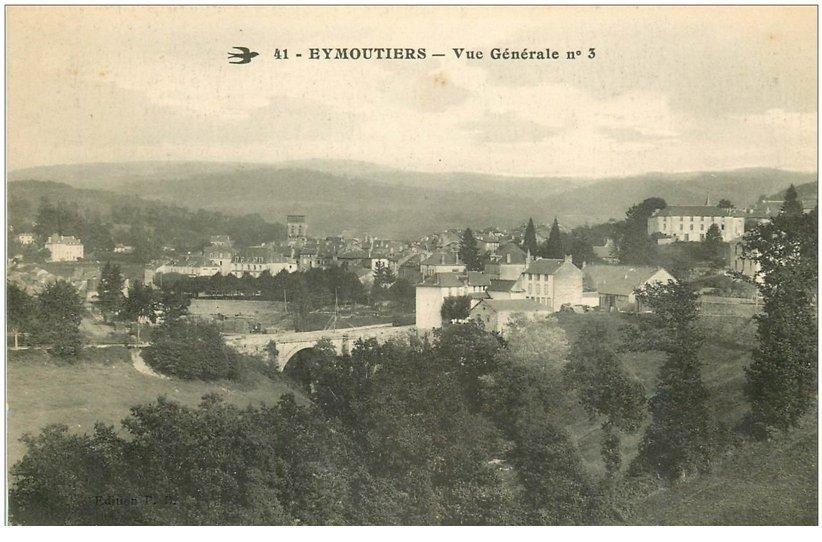 carte postale ancienne 87 EYMOUTIERS. Vue sur la Ville 1917