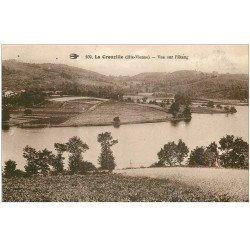 carte postale ancienne 87 LA CROUZILLE. Vue sur l'Etang 1934