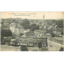 carte postale ancienne 87 LIMOGES. Boulevard Gambetta Epicerie et Tramway 1917