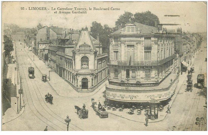 carte postale ancienne 87 LIMOGES. Café Univers Carrefour Tourny Boulevard Carnot et Avenue Garibaldi