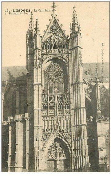 carte postale ancienne 87 LIMOGES. Cathédrale Portail Saint Jean