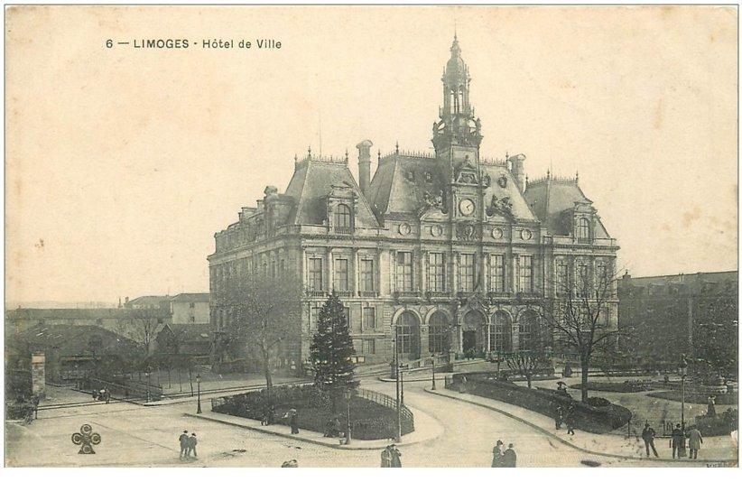 carte postale ancienne 87 LIMOGES. Hôtel de Ville 1904