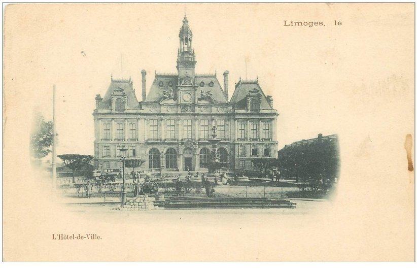 carte postale ancienne 87 LIMOGES. Hôtel de Ville vers 1900