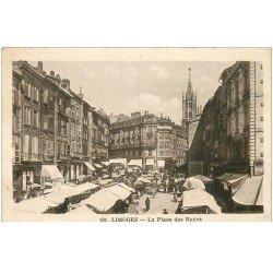 carte postale ancienne 87 LIMOGES. La Place des Bancs et le Marché