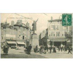 carte postale ancienne 87 LIMOGES. Place et Staue Denis Dussoubs 1911 Café de la Bourse Epicerie Centrale et Pâtisserie