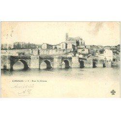 carte postale ancienne 87 LIMOGES. Pont et Cathédrale Saint Etienne 1902