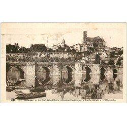 carte postale ancienne 87 LIMOGES. Pont et Cathédrale Saint Etienne 1937 Abbessaille