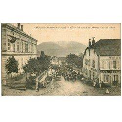 carte postale ancienne 88 BROUVELIEURES. Hôtel de Ville Avenue de la Gare. Fanfare et Café