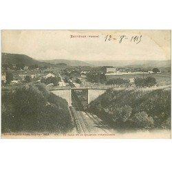 carte postale ancienne 88 BRUYERES EN VOSGES. Gare avec Train et Quartier Artillerie 1915