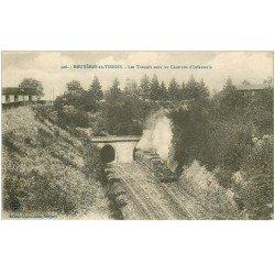 carte postale ancienne 88 BRUYERES EN VOSGES. Tunnel sous Casernes Infanterie et Train à vapeur 1917