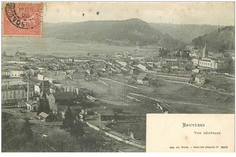 carte postale ancienne 88 BRUYERES EN VOSGES. Vue de la Ville 1905
