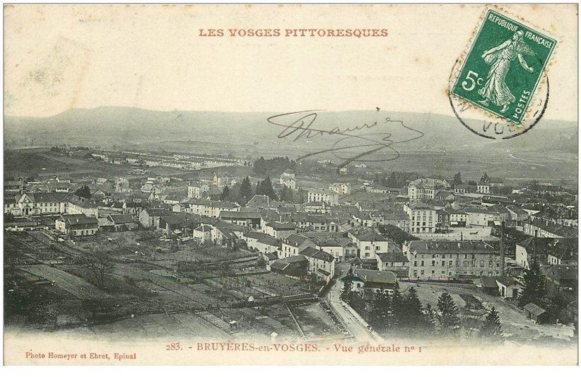 carte postale ancienne 88 BRUYERES EN VOSGES. Vue de la Ville 1909