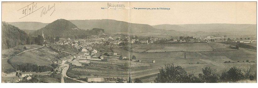 carte postale ancienne 88 BRUYERES EN VOSGES. Vue panoramique double 1915