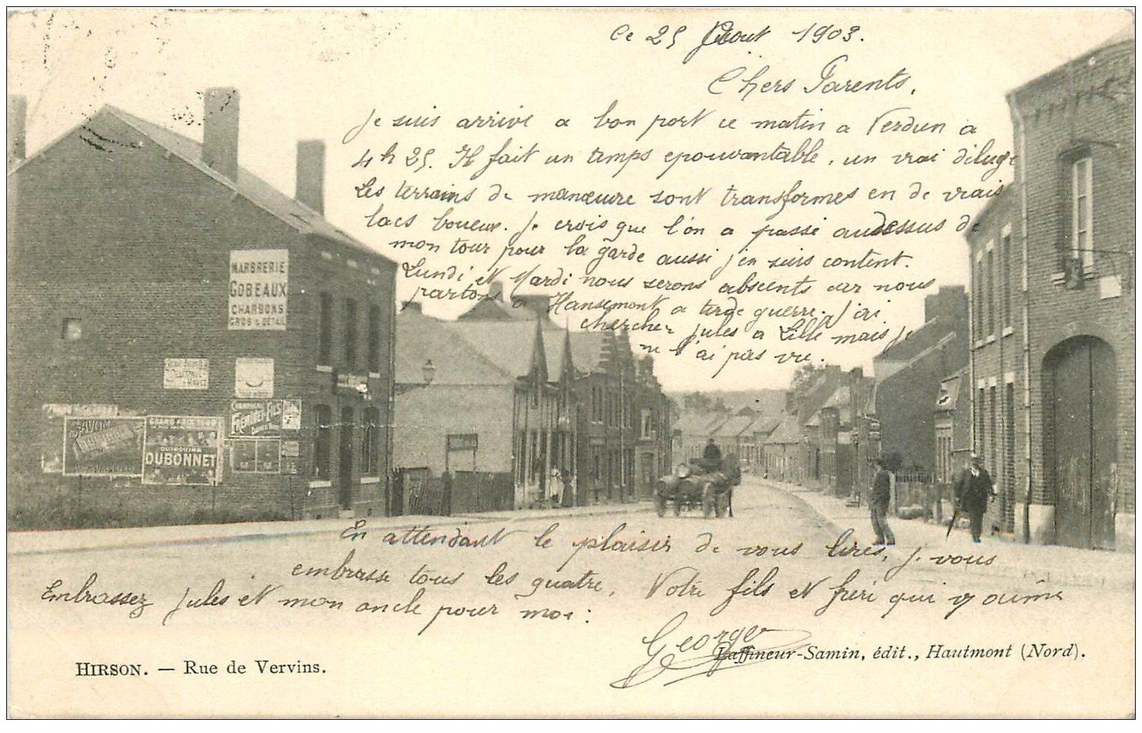 carte postale ancienne 02 HIRSON. Rue de Vervins 1903. Marbrerie Gobeaux