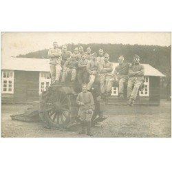 carte postale ancienne 88 EPINAL. Carte Photo groupe de Soldats sur Canon 120 Régiment Artillerie