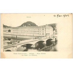 carte postale ancienne 88 EPINAL. Ecole Industrielle Collège et Pont Carnot 1902