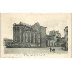 carte postale ancienne 88 EPINAL. Eglise Saint Maurice 1905 avec gamins