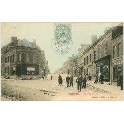 carte postale ancienne 02 HIRSON. Rue de Vervins 1903. Marbrerie Gobeaux. Magasin de Peinture et Chaussures. Edition Leclabart