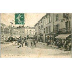 carte postale ancienne 88 EPINAL. La Rue d'Arches 1910 et le Marché Couvert