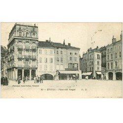 carte postale ancienne 88 EPINAL. Place des Vosges 1921 Grande Pharmacie Nouvelle