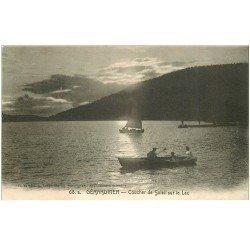 carte postale ancienne 88 GERARDMER. Canotage sur le Lac au Coucher de Soleil