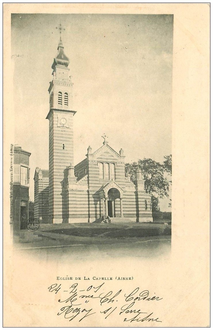 carte postale ancienne 02 LA CAPELLE. L'Eglise 1901