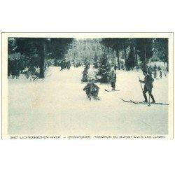 carte postale ancienne 88 GERARDMER. Les Luges au Tremplin du Biasot 1931