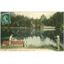 carte postale ancienne 88 GERARDMER. Pêcheurs à la ligne au Lac de Retournemer 1909