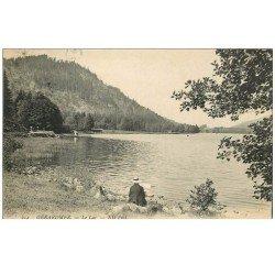 carte postale ancienne 88 GERARDMER. Peintre bord du Lac 1909