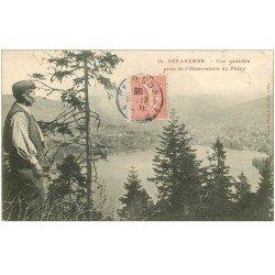 carte postale ancienne 88 GERARDMER. Personnage en gros plan à l'Observatoire du Phény 1905