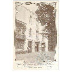carte postale ancienne 88 LA FEUILLEE DOROTHEE. Le Val d'Ajol 1904 Hôtel avec la Patronne