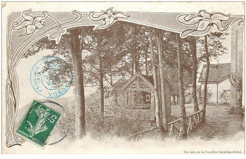 carte postale ancienne 88 LA FEUILLEE DOROTHEE. Le Val d'Ajol 1904 Hôtel un coin