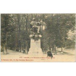 carte postale ancienne 01 BOURG. Quinconce et Statue E. Quinet 1913