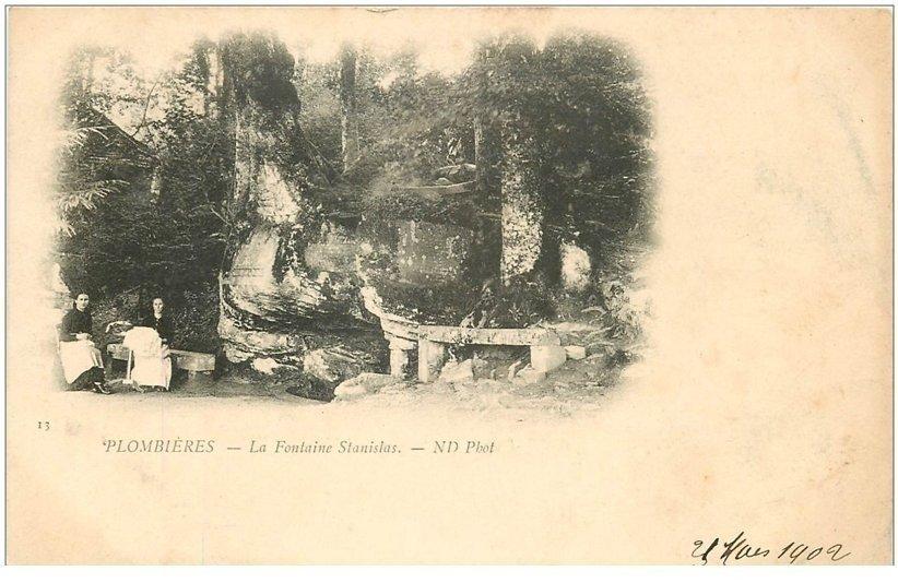 carte postale ancienne 88 PLOMBIERES LES BAINS. Fontaine Stanislas 1902. Verso vierge