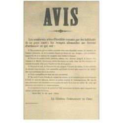 carte postale ancienne 88 SAINT DIE. Copie d'un Avis du Général Commandant en Chef Allemand collé sur les Murs. Verso blanc