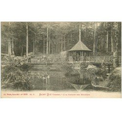 carte postale ancienne 88 SAINT DIE. Douaniers à la Cascade des Molières 1924. Tampon Etablissementd eenberg à Venissieux