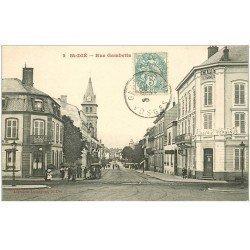carte postale ancienne 88 SAINT DIE. Rue Gambetta Café Terminus et Hôtel de la Gare