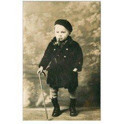 87 LIMOGES. Rare Carte Photo du petit Jean Jean Brouet avec pipe et canne 1929 pour Oncle Emile et Tante Lidonie