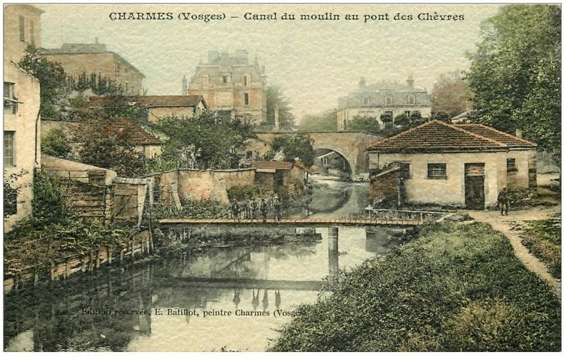 88 charmes sur moselle canal du moulin au pont des ch vres carte de luxe l g rement granul e. Black Bedroom Furniture Sets. Home Design Ideas