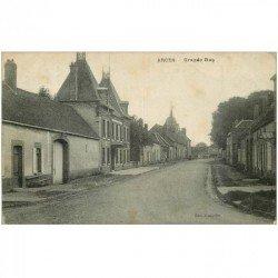 carte postale ancienne 89 ARCES. Grande Rue 1921 timbre arraché